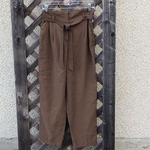 H&M brown paperbag pants with tie gathered waist
